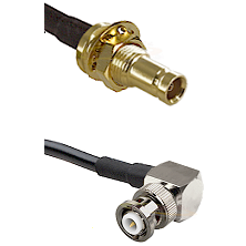 1.0/2.3 Female Bulkhead On LMR-195-UF UltraFlex to MHV Right Angle Male Cable Assembly
