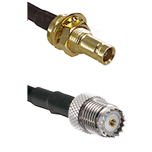 10/23 Female Bulkhead on LMR200 UltraFlex to Mini-UHF Female Cable Assembly