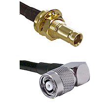 10/23 Female Bulkhead on RG142 to TNC Reverse Polarity Right Angle Male Cable Assembly