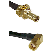 10/23 Female Bulkhead on RG142 to SMA Reverse Polarity Right Angle Male Cable Assembly