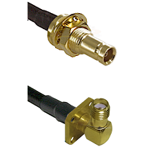 10/23 Female Bulkhead on RG142 to SMA 4 Hole Right Angle Female Cable Assembly
