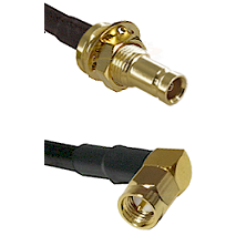 10/23 Female Bulkhead on RG142 to SMA Right Angle Male Cable Assembly