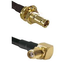 10/23 Female Bulkhead on RG142 to SMA Reverse Thread Right Angle Female Bulkhead Coaxial Cable Ass