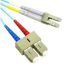 5m USA-Made 10 Gb LC/SC Duplex 50/125 Multimode Fiber Patch Cable - Aqua