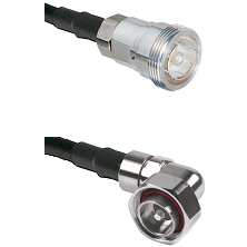 7/16 Din Female on LMR200 UltraFlex to 7/16 Din Right Angle Male Cable Assembly