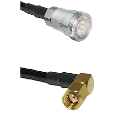 7/16 Din Female Connector On LMR-240UF UltraFlex To SMA Reverse Polarity Right Angle Male Connector