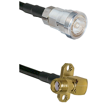 7/16 Din Female Connector On LMR-240UF UltraFlex To SMA 2 Hole Right Angle Female Connector Coaxial