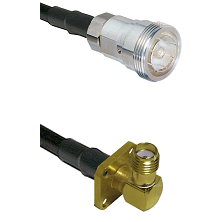 7/16 Din Female Connector On LMR-240UF UltraFlex To SMA 4 Hole Right Angle Female Connector Coaxial