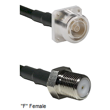 7/16 4 Hole Female Connector On LMR-240UF UltraFlex To F Female Connector Cable Assembly