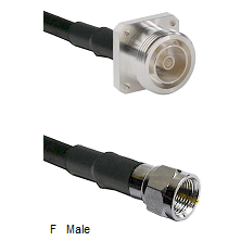 7/16 4 Hole Female Connector On LMR-240UF UltraFlex To F Male Connector Cable Assembly