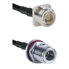 7/16 4 Hole Female Connector On LMR-240UF UltraFlex To N Reverse Polarity Female Bulkhead Connector