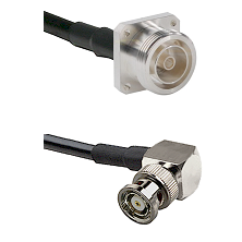 7/16 4 Hole Female Connector On LMR-240UF UltraFlex To BNC Reverse Polarity Right Angle Male Connect