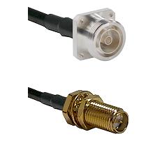 7/16 4 Hole Female Connector On LMR-240UF UltraFlex To SMA Reverse Polarity Female Bulkhead Connecto