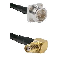 7/16 4 Hole Female Connector On LMR-240UF UltraFlex To SMA Reverse Thread Right Angle Female Bulkhea
