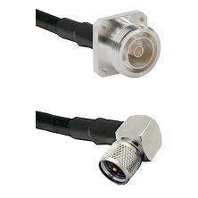 7/16 4 Hole Female on RG58C/U to Mini-UHF Right Angle Male Cable Assembly