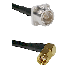 7/16 4 Hole Female on RG58 to SMA Reverse Polarity Right Angle Male Cable Assembly