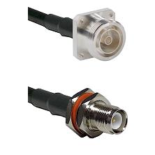 7/16 4 Hole Female on RG58 to TNC Reverse Polarity Female Bulkhead Cable Assembly