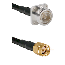 7/16 4 Hole Female on RG58C/U to SMA Reverse Thread Male Cable Assembly