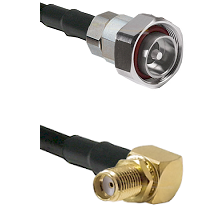7/16 Din Male on LMR240 Ultra Flex to SMA Reverse Thread Right Angle Female Bulkhead Coaxial Cable A