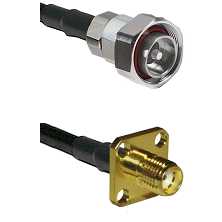 7/16 Din Male Connector On LMR-240UF UltraFlex To SMA 4 Hole Female Connector Cable Assembly