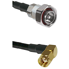7/16 Din Male on RG58C/U to SMA Reverse Polarity Right Angle Male Cable Assembly