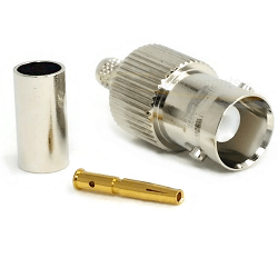 BNC Female Connector for RG58 RG141 LMR195 Crimp 50ohm 4GHz Nickel