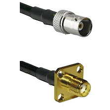 BNC Female Connector On LMR-240UF UltraFlex To SMA 4 Hole Female Connector Cable Assembly