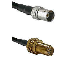 BNC Female on RG400 to SMA Reverse Polarity Female Bulkhead Cable Assembly
