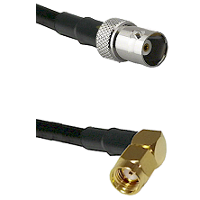 BNC Female on RG58C/U to SMA Reverse Polarity Right Angle Male Cable Assembly