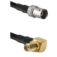 BNC Female on RG58 to SMA Reverse Thread Right Angle Female Bulkhead Cable Assembly