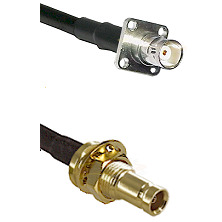 BNC 4 Hole Female on LMR100 to 10/23 Female Bulkhead Cable Assembly