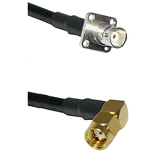 BNC 4 Hole Female on LMR-195-UF UltraFlex to SMA Reverse Polarity Right Angle Male Coaxial Cable Ass