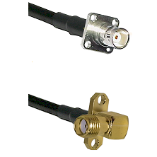 BNC 4 Hole Female on LMR-195-UF UltraFlex to SMA 2 Hole Right Angle Female Cable Assembly