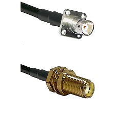 BNC 4 Hole Female on LMR-195-UF UltraFlex to SMA Female Bulkhead Cable Assembly