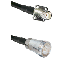 BNC 4 Hole Female on RG142 to 7/16 Din Female Cable Assembly