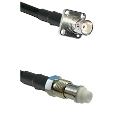 BNC 4 Hole Female on RG142 to FME Female Cable Assembly