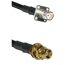 BNC 4 Hole Female on RG142 to MCX Female Bulkhead Cable Assembly