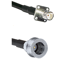 BNC 4 Hole Female on RG400 to QN Male Cable Assembly