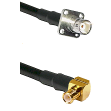 BNC 4 Hole Female on RG400 to MCX Right Angle Male Cable Assembly