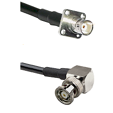 BNC 4 Hole Female on RG400 to BNC Reverse Polarity Right Angle Male Cable Assembly