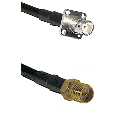 BNC 4 Hole Female on RG400 to SMA Reverse Polarity Female Cable Assembly