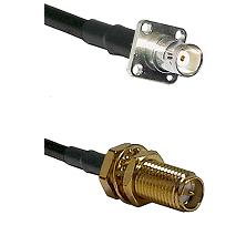 BNC 4 Hole Female on RG400 to SMA Reverse Polarity Female Bulkhead Cable Assembly
