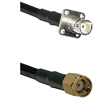 BNC 4 Hole Female on RG400 to SMA Reverse Polarity Male Cable Assembly