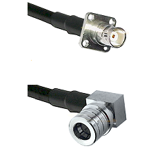 BNC 4 Hole Female on RG400 to QMA Right Angle Male Cable Assembly