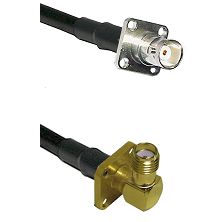 BNC 4 Hole Female on RG400 to SMA 4 Hole Right Angle Female Cable Assembly