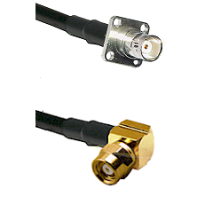 BNC 4 Hole Female on RG400 to SMC Right Angle Female Cable Assembly