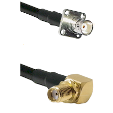BNC 4 Hole Female on RG400 to SMA Reverse Thread Right Angle Female Bulkhead Cable Assembly
