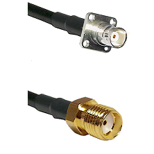 BNC 4 Hole Female on RG400 to SMA Reverse Thread Female Cable Assembly