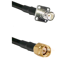 BNC 4 Hole Female on RG400 to SMA Reverse Thread Male Cable Assembly