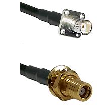BNC 4 Hole Female on RG400 to SMB Female Bulkhead Cable Assembly